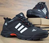 Зимние мужские кроссовки Adidas Climaproof низкие черные белые полосы 41-46рр. Живое фото. Реплика