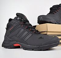 Зимние мужские кроссовки Adidas Climaproof высокие чёрные с красным 41-46рр. Живое фото. Реплика