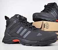 Зимние мужские кроссовки Adidas Climaproof высокие чёрные с красным и серым 41-46рр. Живое фото. Реплика