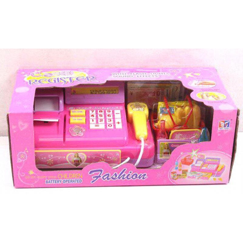 Кассовый аппарат 3138A розовый детский для игры в магазин