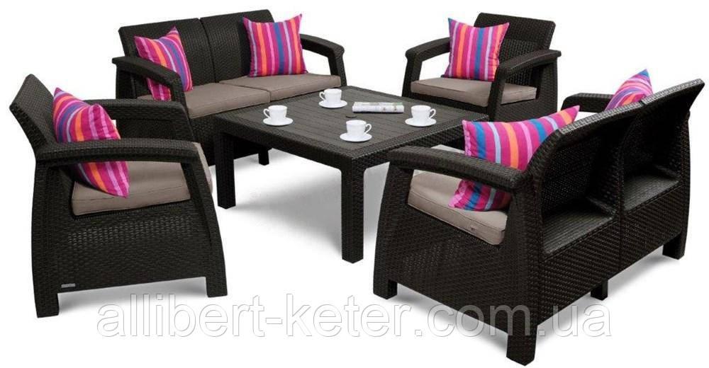 Набор садовой мебели Corfu Fiesta Family Brown ( коричневый ) из искусственного ротанга