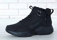 Мужская Зимняя обувь Nike Huarache Winter Acronym All Black На меху