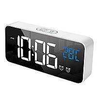 Часы настольные электронные зеркальные Losso Premium (BT) с LED подсветкой и термометром (белые), будильник