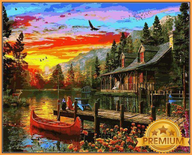 Картины по номерам 40×50 см. Babylon Premium Вечерний Закат Художник Доминик Дэвисон