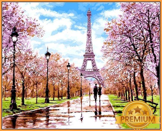 Картины по номерам 40×50 см. Babylon Premium Ранняя весна Париж Худ Ричард Макнейл