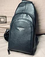 Мужской слинг сумка через плече PRADA кожа