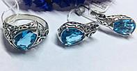 Серебряный комплект с голубым камнем Медина