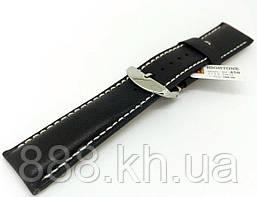 Ремешок для наручных часов кожаный Hightone HT-450 с классической застежкой, черный, 24x220 мм