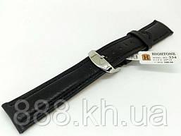 Ремешок для наручных часов кожаный Hightone HT-334 с классической застежкой, черный, 20x180 мм