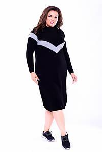 Платье женское батальное, черное, 46-52 р-р.