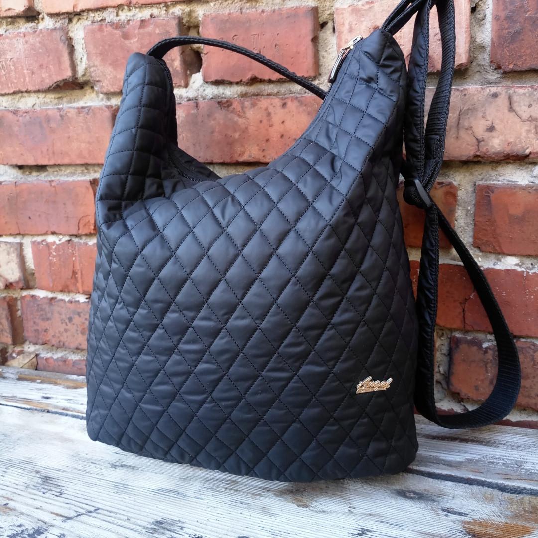 Глянец черная сумка женская через плечо стёганная
