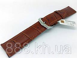 Ремешок для наручных часов кожаный Hightone HT-352 с классической застежкой, коричневый, 20x180 мм