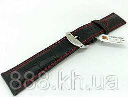 Ремешок для наручных часов кожаный Hightone HT-408 с классической застежкой, черный, 22x200 мм