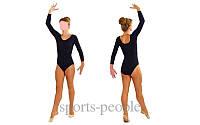 Купальник с длинным рукавом, для гимнастики и танцев, эластик, размеры: S, M, L (рост 1.10-1.34), разн. цвета