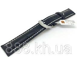 Ремешок для наручных часов кожаный Hightone HT-305 с классической застежкой, черный, 18x160 мм