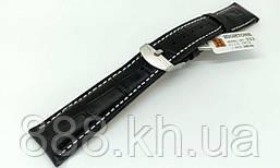 Ремешок для наручных часов кожаный Hightone HT-323 с классической застежкой, черный, 19x160 мм