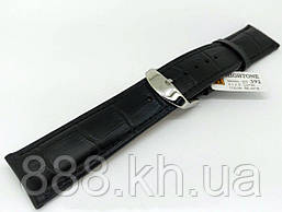 Ремешок для наручных часов кожаный Hightone HT-392 с классической застежкой, черный, 22x200 мм