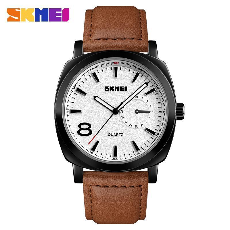 Skmei 1466 черные c коричневым ремешком мужские классические часы