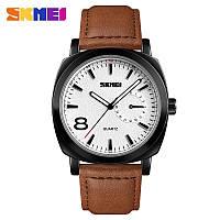 Skmei 1466 черные c коричневым ремешком мужские классические часы, фото 1