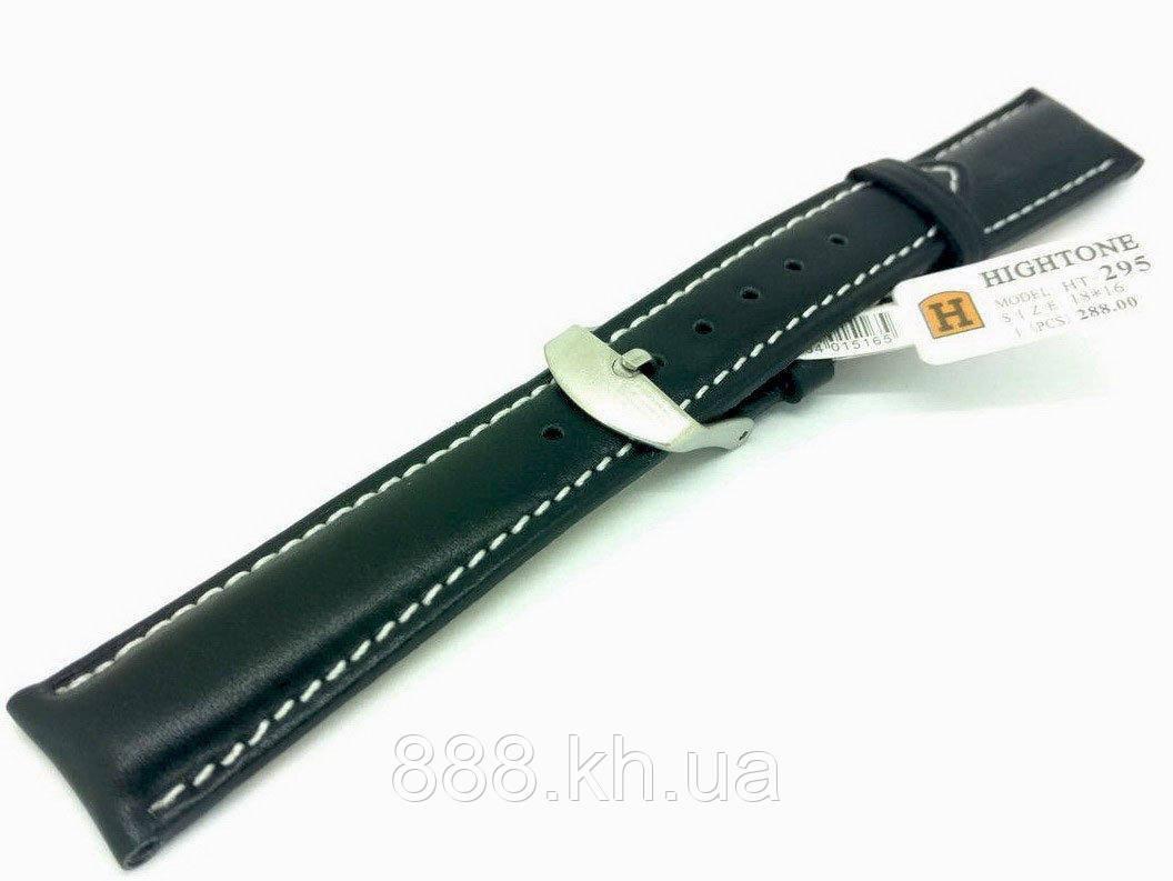 Ремешок для наручных часов кожаный Hightone HT-295 с классической застежкой, черный, 18x160 мм