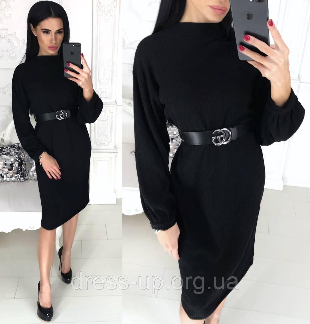 Жіноче плаття міді з поясом АА/-1212 - Чорний