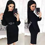 Жіноче плаття міді з поясом АА/-1212 - Чорний, фото 3