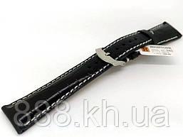 Ремешок для наручных часов кожаный Hightone HT-342 с классической застежкой, черный, 20x160 мм