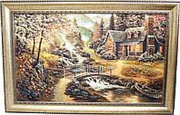 """Картина із бурштину """"Дім у лісі"""" (75 x 115 см) B072, 75 x 115, від 101 см і більше"""