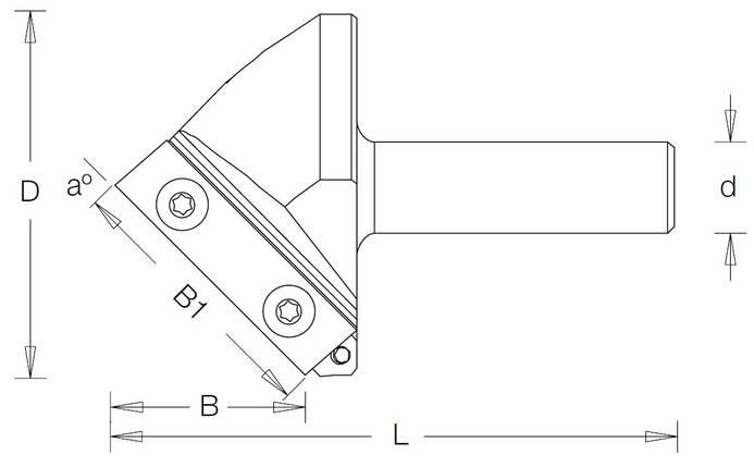 Фреза гравировальная DIMAR со сменными ножами угол 45° D=20,8 B=25 B1=27,0 L=60,3 d=12, фото 2