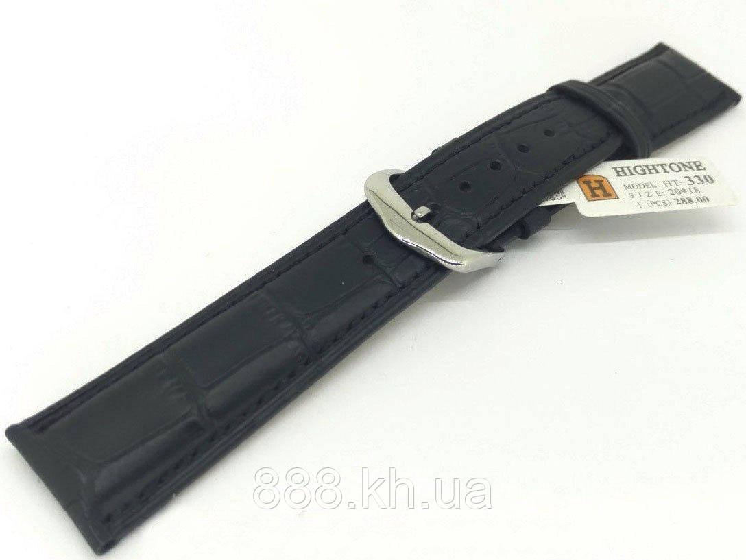 Ремешок для наручных часов кожаный Hightone HT-330 с классической застежкой, черный, 20x180 мм