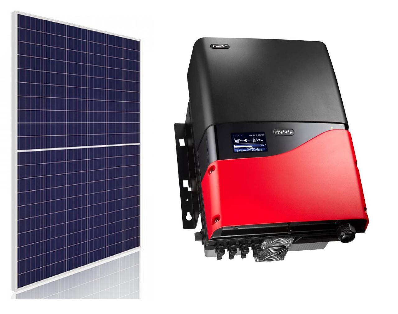 Комплект обладнання для сонячної електростанції 10 кВт (37 ФЕМ ABi-Solar AB280-60PHC + інвертор PrimeVOLT PV-10000T-U)