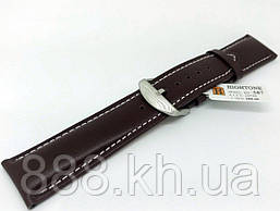 Ремешок для наручных часов кожаный Hightone HT-387 с классической застежкой, коричневый, 22x200 мм