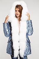 Парка женская с мехом песца , голубой Блеск, фото 1