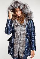Парка зимняя женская с мехом чернобурки , синий Блеск, фото 1