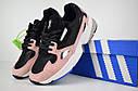 Кроссовки женские Adidas Falcon в стиле Адидас Фалькон, замша, текстиль код OD-2640. Черные с пудрой, фото 7