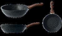 Сковорідка глибока  GUSTO GT-2103-24 покриття Granite (глибина 6.8см)