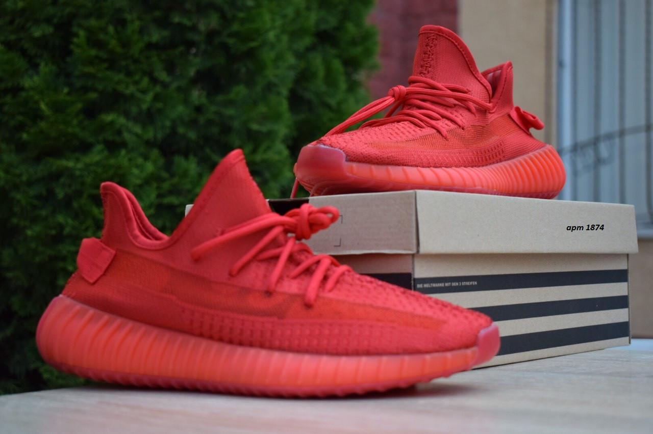 Кроссовки Adidas Yeezy Boost 350 мужские, красные, в стиле Адидас ИзиБуст 350, текстиль, код OD-1874