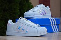 Кроссовки Adidas Superstar женские, белый/перламутровый, в стиле Адидас Суперстар, кожа, код OD-2881