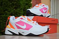 Кроссовки Nike Air Monarch женские, белый/розовый, в стиле Найк Аир Монарх, кожа, код OD-2907