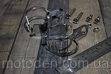 Кронштейны крепления передних поворотников мотоцикла на вилку серебристые универсальные