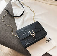 Женская классическая черная сумочка на цепочке клатч черный