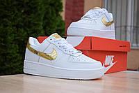 Кроссовки Nike Air Force женские, белый/золото, в стиле Найк Аир Форс, кожа, код OD-2914