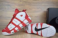 Кроссовки Nike Uptempo x Supreme мужские, красные, в стиле Найк Аптемпо Супрем, нубук, кожа код OD-1497