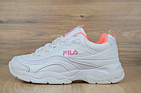 Кроссовки Fila Ray женские, белые с розовым, в стиле Фила Рей, материал-кожа, подошва-пена, код OD-2556.