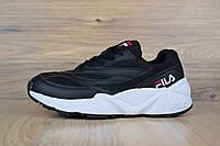Кроссовки Fila Venom женские, черные с белым, в стиле Фила Веном, материал-кожа, подошва-пена, код OD-2709.