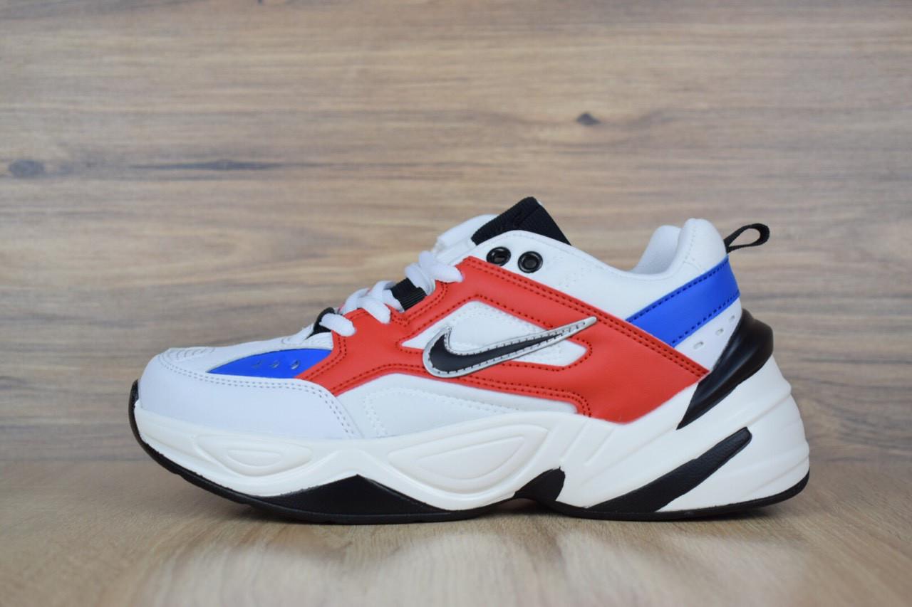 Кроссовки женские в стиле Nike M2 Tekno код товара OD-2583. Бело-синие с красным