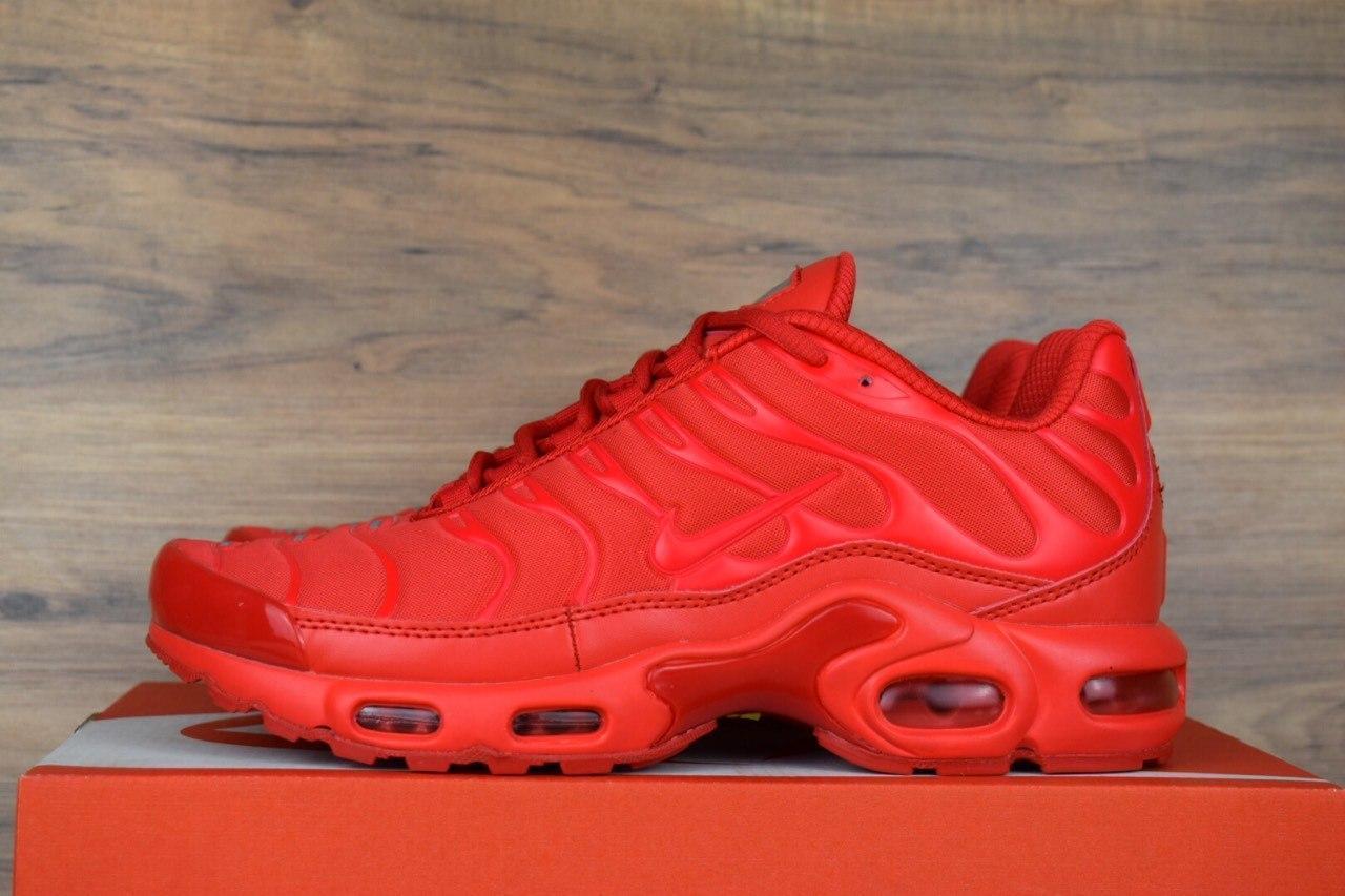 Кроссовки мужские в стиле Nike TN Plus, сетка, текстиль код OD-1582. Красные