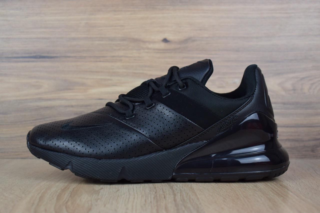 Кроссовки мужские в стиле Nike Air Max 270, натуральная кожа, текстиль код OD-1588. Черные