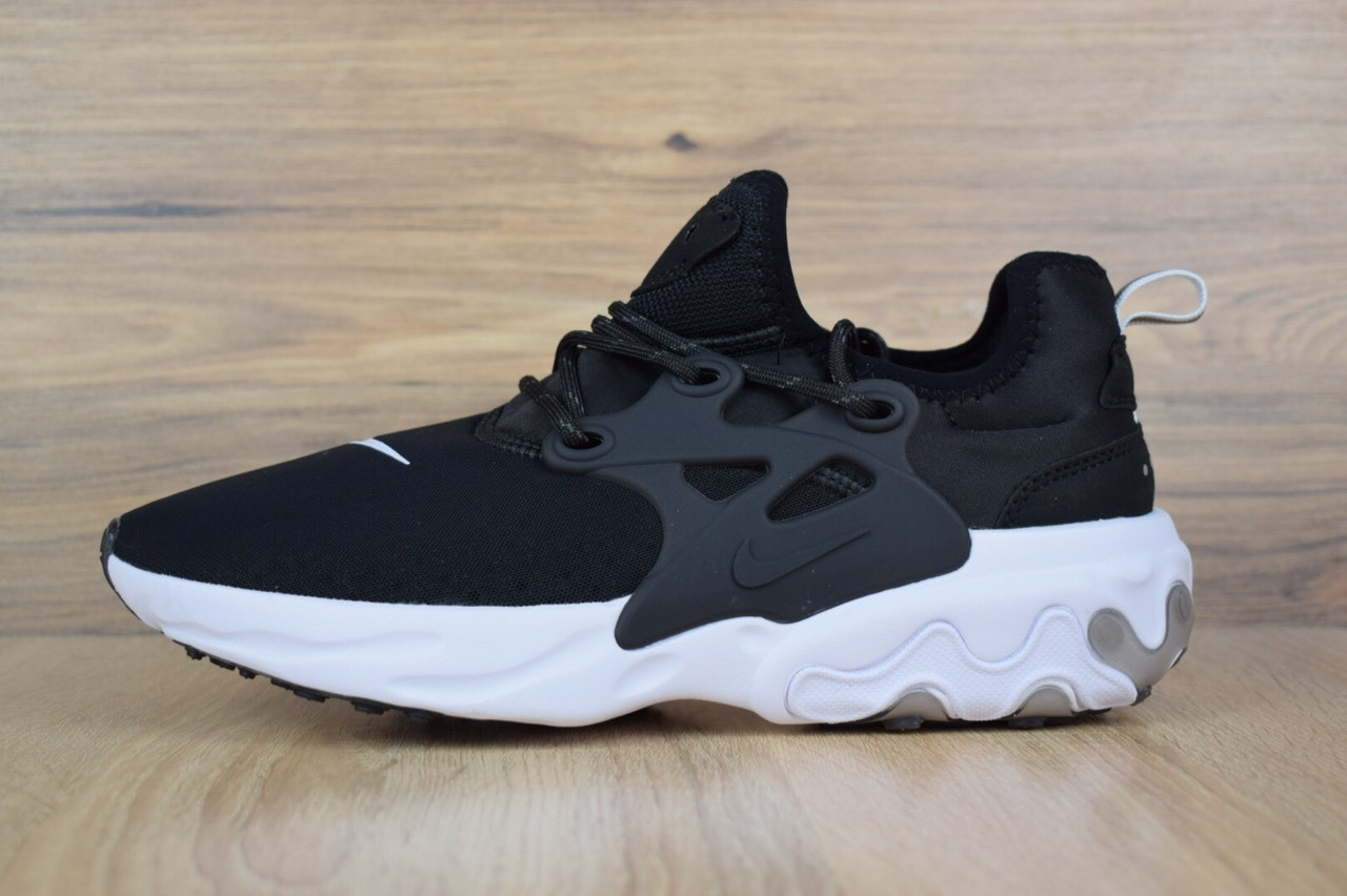 Кроссовки мужские Nike Presto React в стиле Найк Престо Реакт, тектсиль, текстиль код OD-1655. Черные