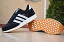 Кроссовки мужские Adidas Iniki в стиле Адидас Иники, замша, текстиль код Z-1776. Черные с белым, фото 2